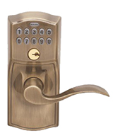 Antique Brass Accent Lever Electronic Lockset